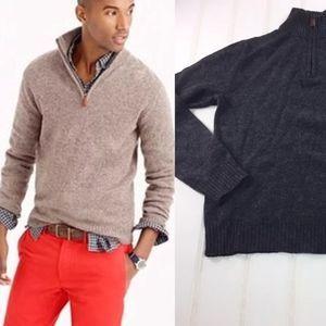 J. Crew Lambswool Gray Half Zip Sweater Pullover S